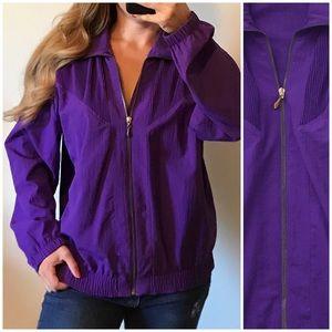 VINTAGE TEDDI Bright Purple Windbreaker Jacket L